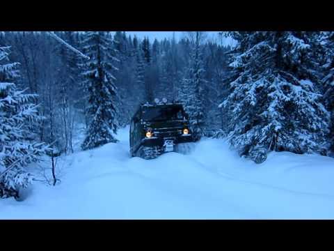 BV206 Climbing a steep hill in deep snow