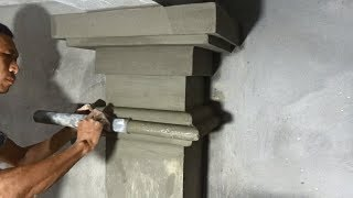 Beautiful Building Column - Contruction Rendering Sand & Cement To The Concrete Column In The House