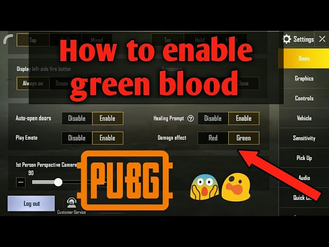 green blood in pubg mobile
