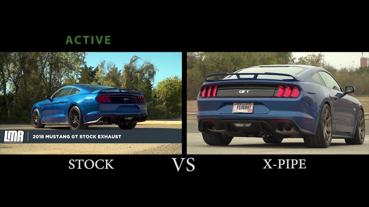 2018 mustang gt x pipe w o resonator vs stock exhaust comparison
