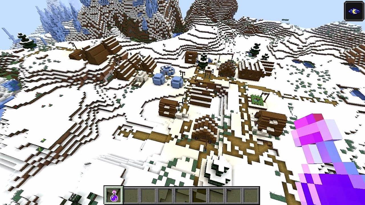 Minecraft 10.104 Seed 10108: Snow village and triple igloo