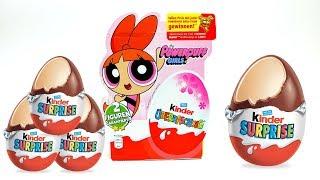 4 Kinder Surprise Egg Set with Power Girls Toys