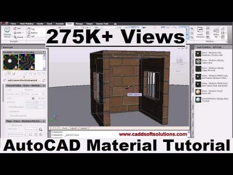 AutoCAD 3D Materials Tutorial | AutoCAD 2010 | Apply, Mapping, Create Material