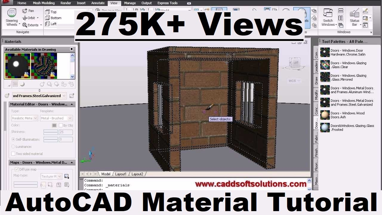 Autocad 3d materials tutorial autocad 2010 apply for Waste material video