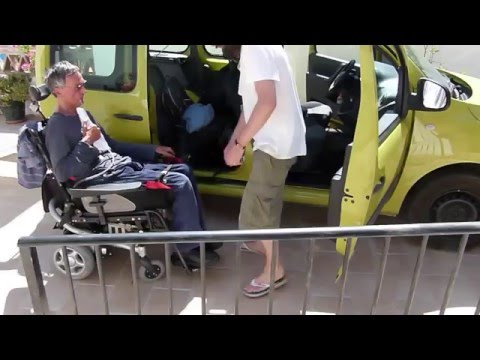 How to transfer from wheelchair to car with sliding board and lifting sling