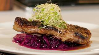 How to make pan Seared Pork Chop with Red Cabbage | Chef Chris Valdes