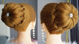 New High Bun Hairstyle For Gown Trending Hairstyle Party Hairstyle Wedding Hairstyles Updo