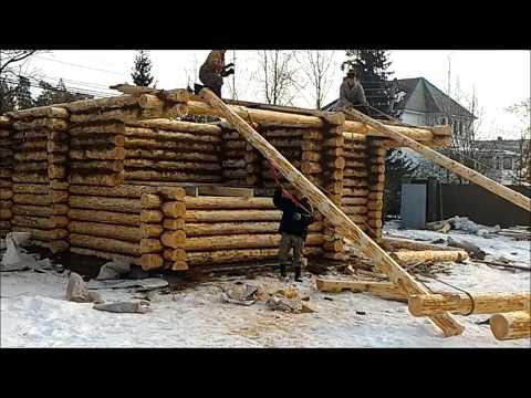 Сборка дома из бревна ручной рубки плотниками Терем-Град. Видео как собрать сруб бани из бревна.