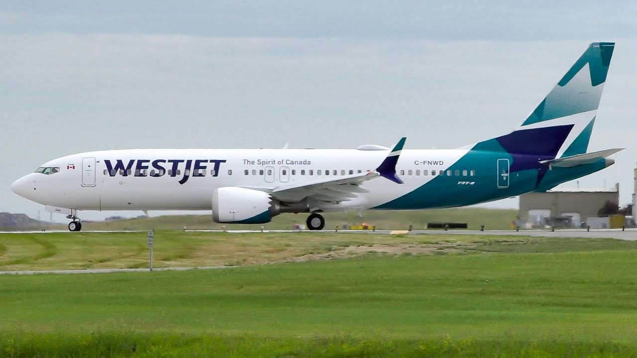 Flights With West Jet First Revenue Flight Westjet New Livery Boeing 737 Max 8 Takeoff From Calgary Airport