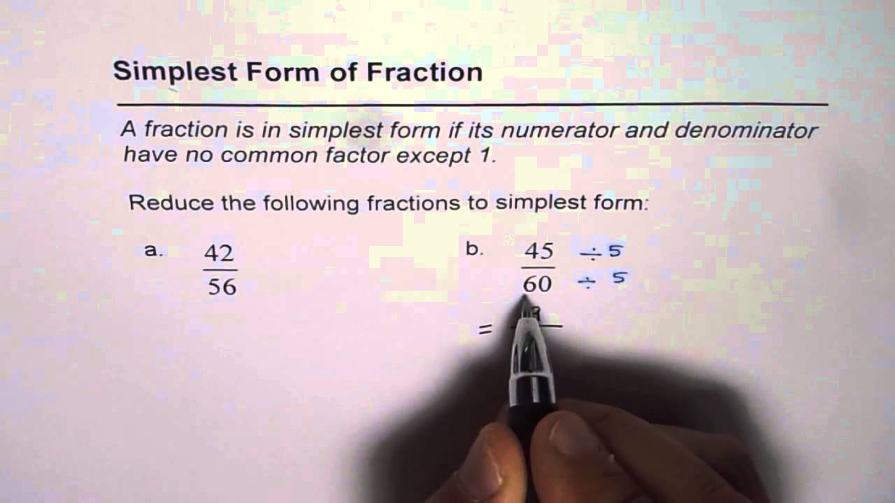 03 Reduce Fraction to Simplest Form - YouTube