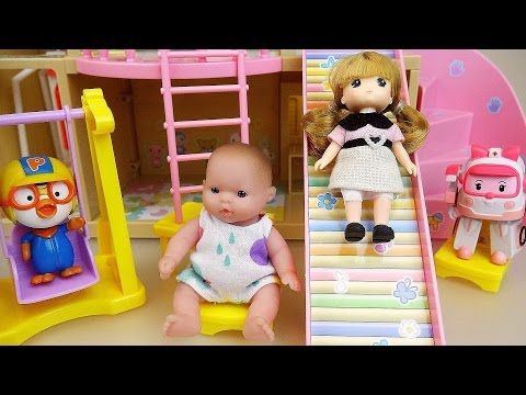 Baby doll slide house and Pororo Poli toys