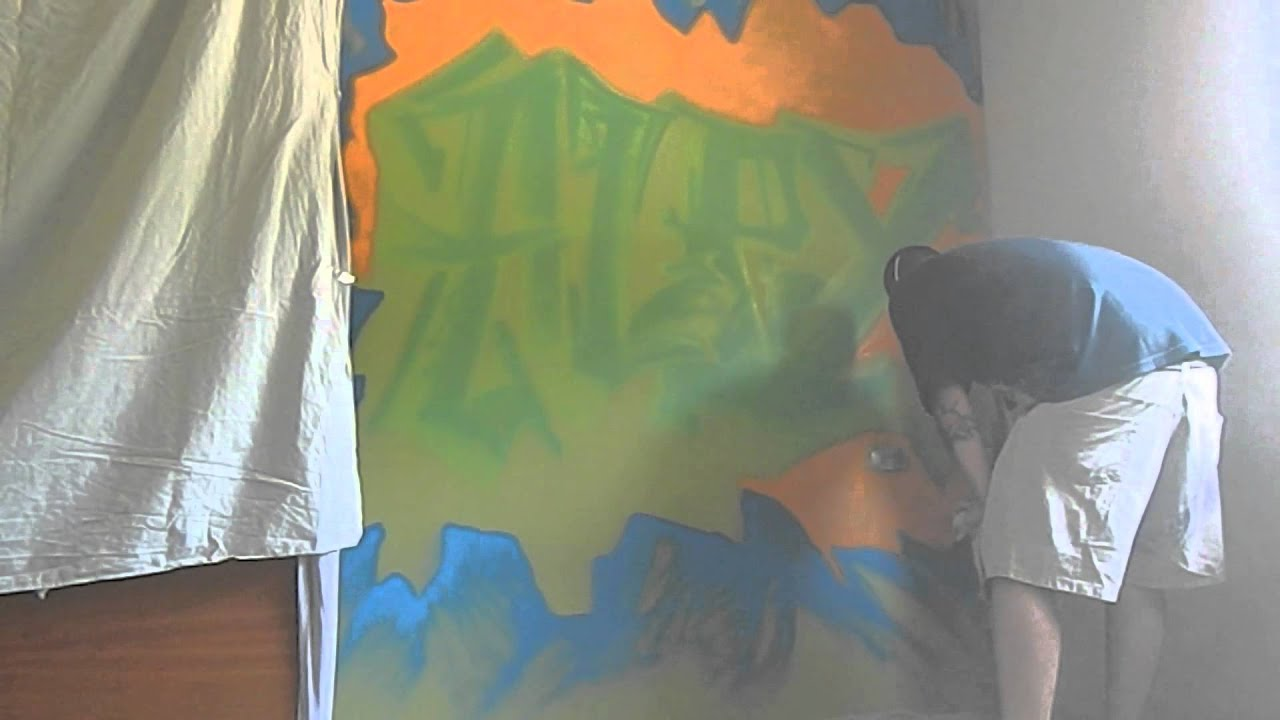 Decoraci n graffiti mural habitacion juvenil nombre alex for Mural habitacion juvenil