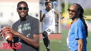 celebrities like chris brown and snoop dogg take the field for a good cause splash news tv