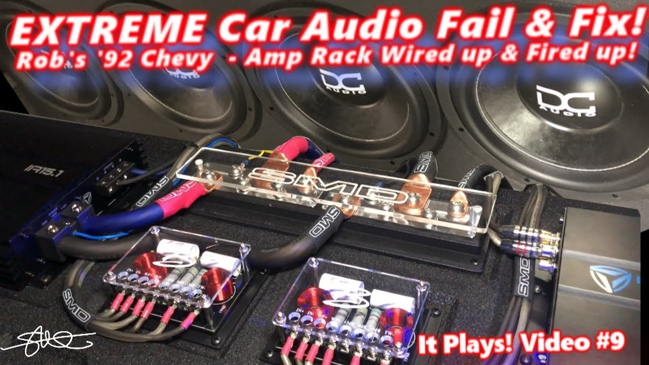 extreme car audio fail fix bucket o bass chevy truck amp rack wired up fired up video 9