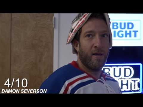 Barstool Goalie Challenge Featuring Damon Severson And Keith Kinkaid Of The New Jersey Devils