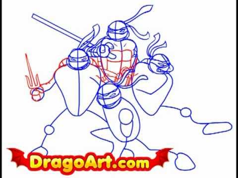how to draw a ninja turtle body