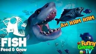 Я БОЛЬШАЯ ХИЩНАЯ РЫБА веселое видео для детей в необычной игре Feed and Grow Fish от Funny Games TV