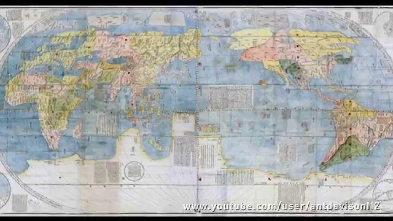 Matteo Ricci S Chinese World Map 1584 1608 坤輿萬國全圖 Youtube