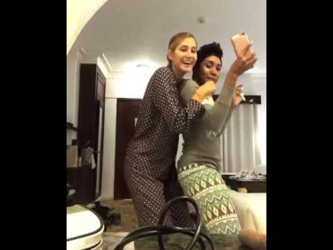 Miss Venezuela and Miss Cayman Island playing around - Miss Universe 2016