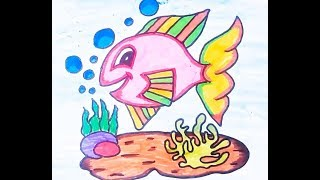Coloring Videos: Fish Coloring videos for kids - Learning Colors with Fish Coloring Page