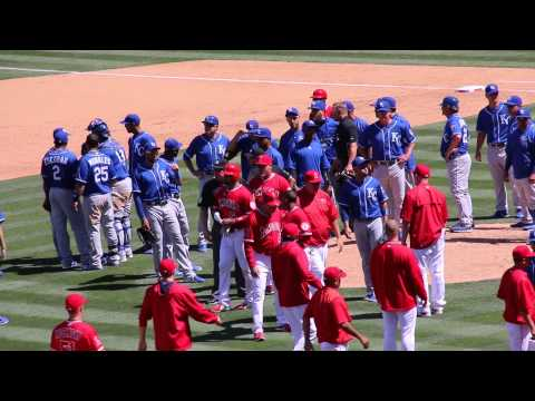 Pujols doubles in Trout off Ventura, benches clear