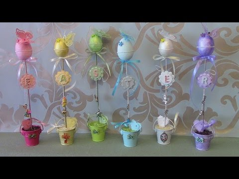 DIY Easter Topiary with charms - Easter Sign