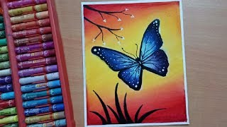 How To Draw Easy Butterfly Scenery with Oil Pastels - Step by Step