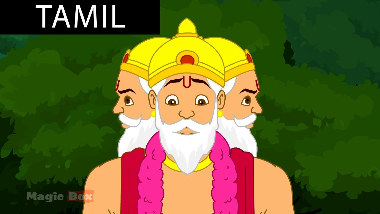 Brahma - Krishna vs Demons In Tamil - Animated / Cartoon Stories For Kids