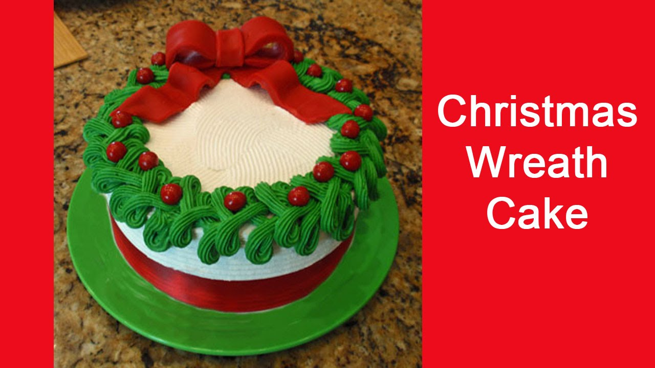Simple Cake Decoration For Christmas : Easy to Decorate Christmas Wreath Cake - YouTube