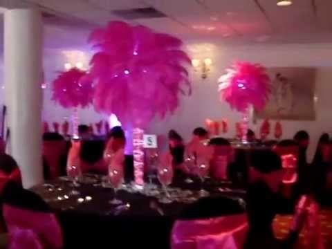 Hot Pink Fuchsia Ostrich Feather Centerpiece Rentals With French