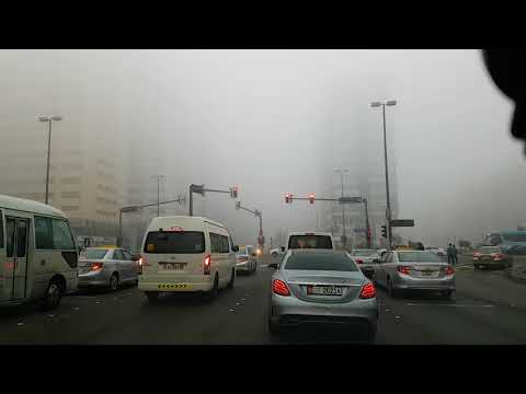 Christmas in UAE - Foggy Christmas day low visibility driving Abu Dhabi