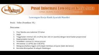 LOWONGAN KERJA BANK MANDIRI SYARIAH