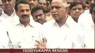 Yeddyurappa resigns as K'taka CM