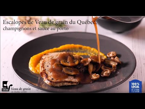 escalopes-de-veau-de-grain-du-québec,-champignons-et-sauce-au-porto