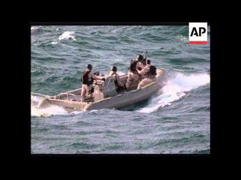 US Dept of Defence footage of navy seizing pirate ship off Somalia
