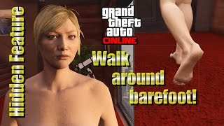 Repeat youtube video GTA 5 - Secret hidden feature - Go barefoot anywhere! + A quick naked Apartment tour