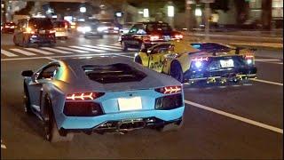 諸星一家 空吹かし他 ハロウィン爆音パレード/Lamborghini crazy Halloween parade in Japan. Aventador, Aventador, Aventador!