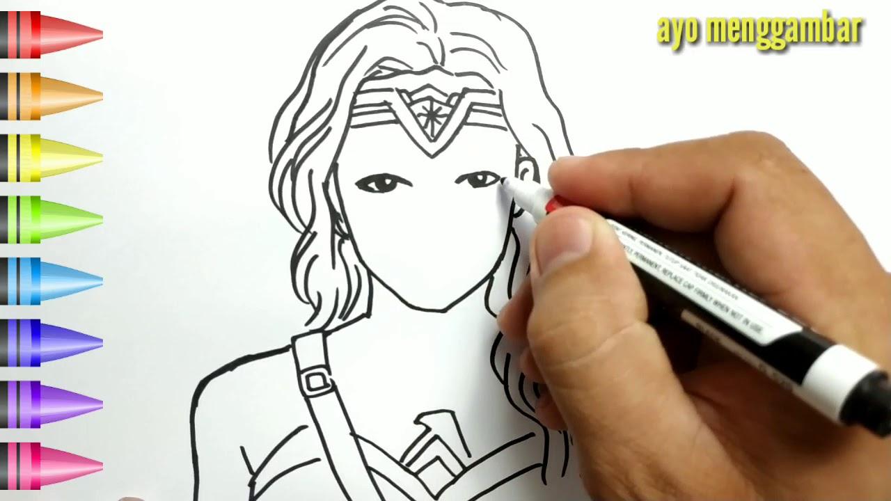 MUDAHNYA Ayo Belajar Cara Menggambar Wonder Woman Dan Mewarnai Kartun Untuk Anak Anak Indonesia