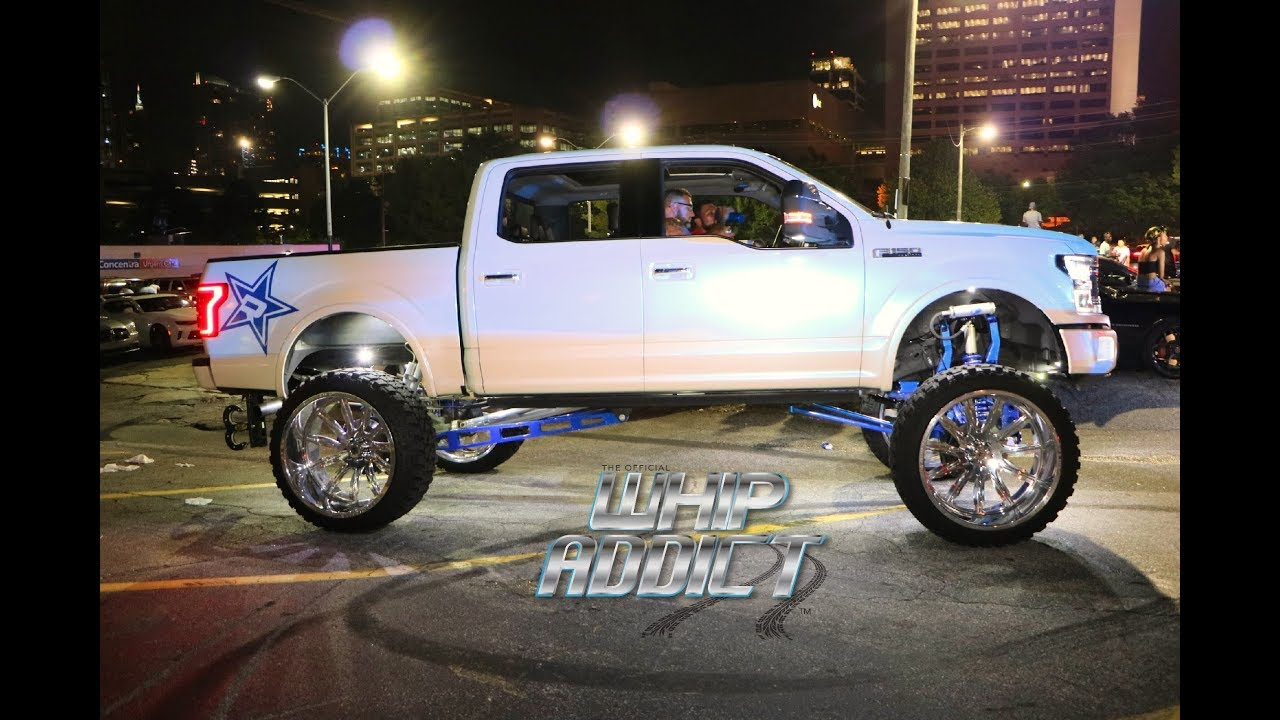 F150 4 Inch Lift >> WhipAddict: 2018 Ford F150 Lifted on 28x16 Off Road Wheels/Tires, White w/Blue Pearl - YouTube