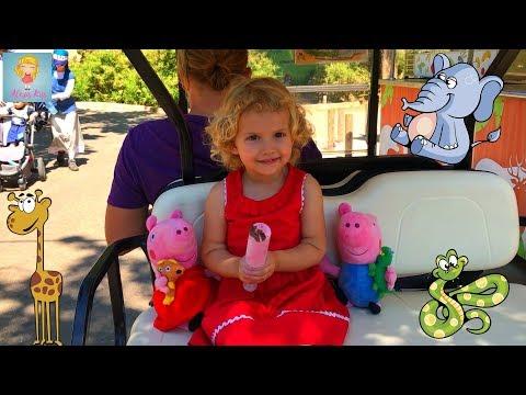 АЛЕКСИС и вся семья СВИНКИ ПЕППЫ в ЗООПАРКЕ. Peppa Pig family in the ZOO.