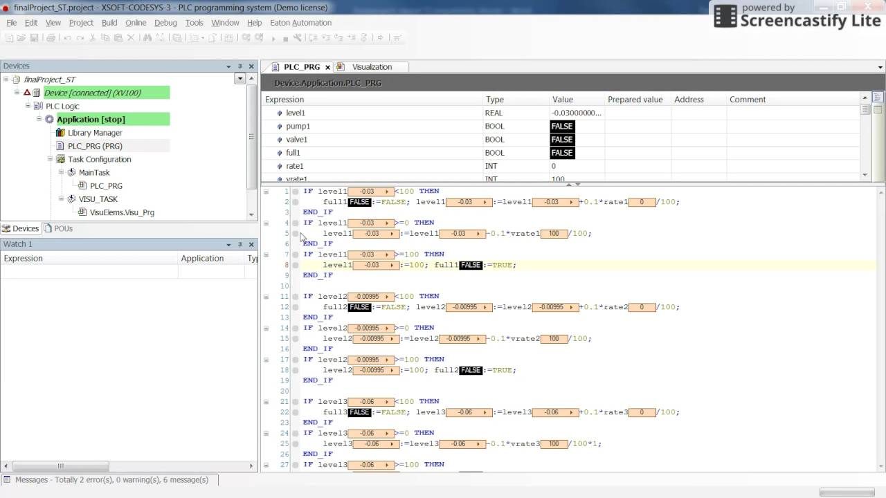 CODESYS: Sample (02) project for the industrial automation - Four tank  system - open source code