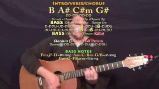 True Colors (The Weeknd) Guitar Lesson Chord Chart - B A# D#m G#