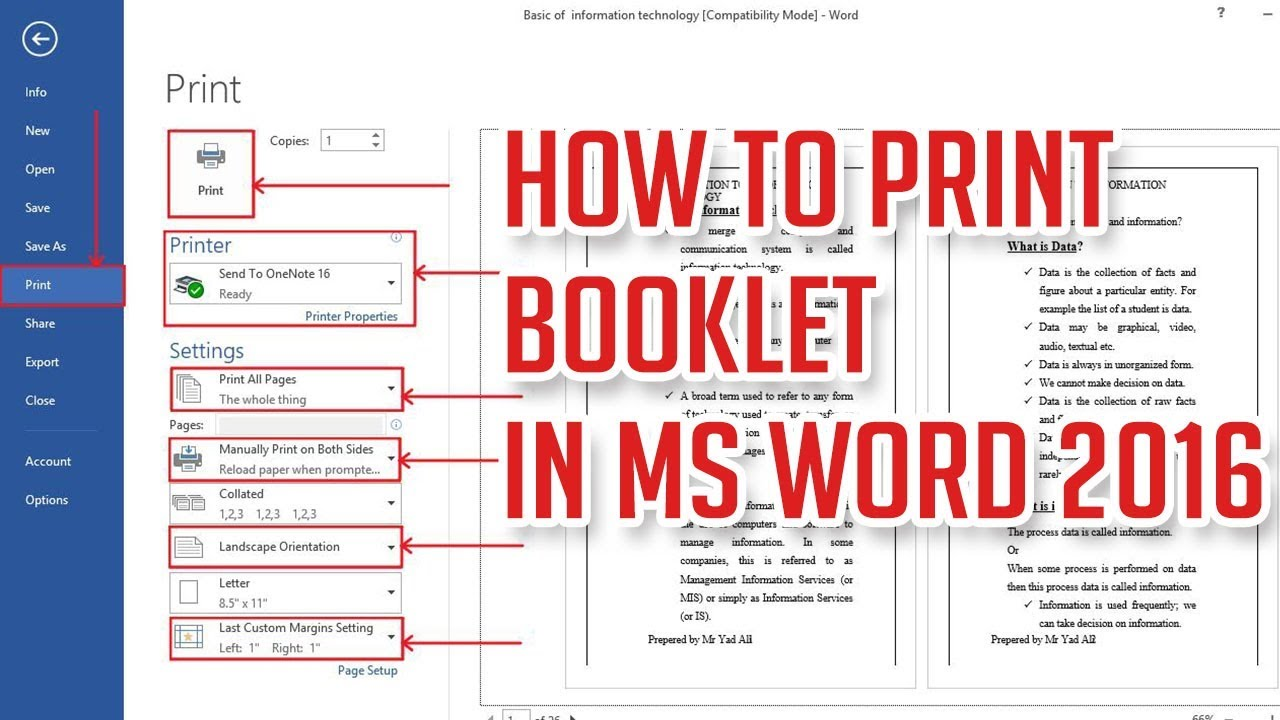 How To Print A Booklet In Ms Word 2016