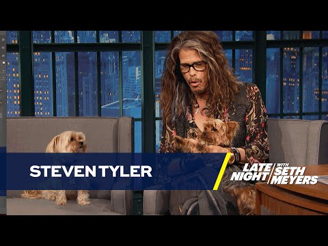 Steven Tyler Brings His Dogs to Late Night