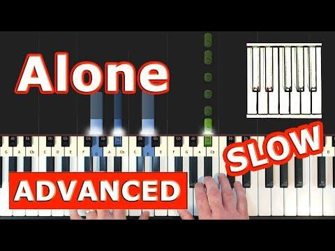 Marshmello - Alone - SLOW Piano Tutorial Easy - Sheet Music (Synthesia) thumbnail