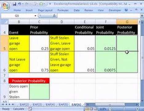 Excel Array Formula Series #6: Statistics Bayes' Theorem