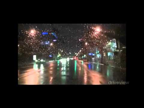 Sunset blvd (highland to vine) rainy Los Angeles night drive eb
