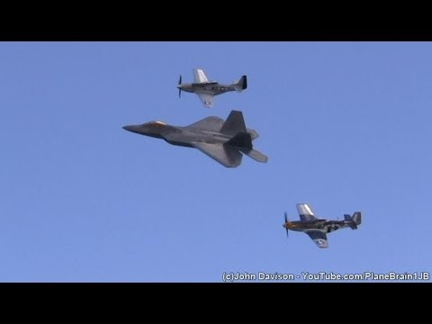 2014 R.I. Airshow @Quonset - F-22 Demo & USAF Heritage Flight