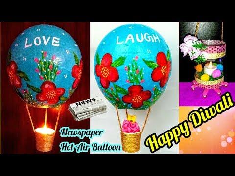 How to make Newspaper Lantern-Hot Air Balloon Craft | Diwali/Christmas home decor