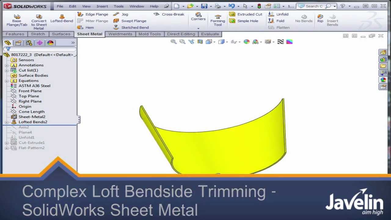 Complex Loft Bend Side Trimming Solidworks Sheet Metal